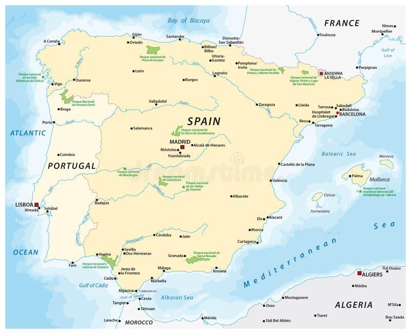 伊比利亚半岛的地图 库存例证