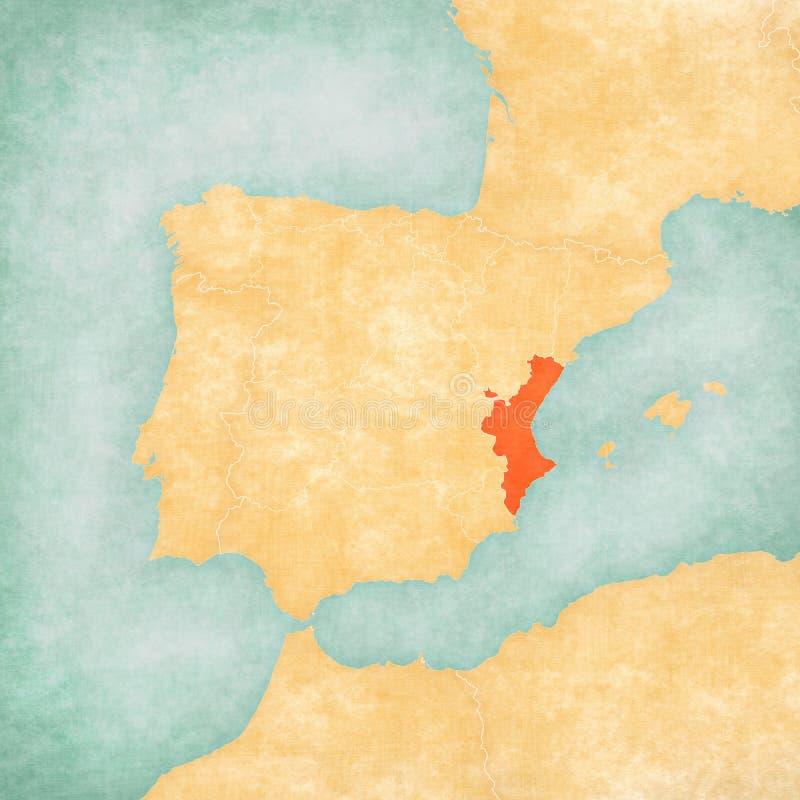 伊比利亚半岛-巴伦西亚自治区地图  向量例证