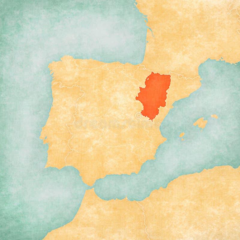 伊比利亚半岛-阿拉贡地图  皇族释放例证