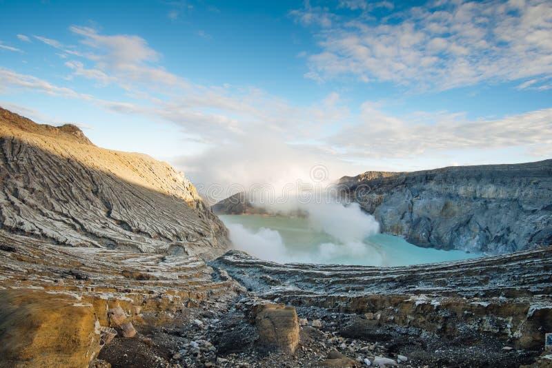 伊真火山火山复合体早晨和绿松石浇灌湖 免版税库存图片