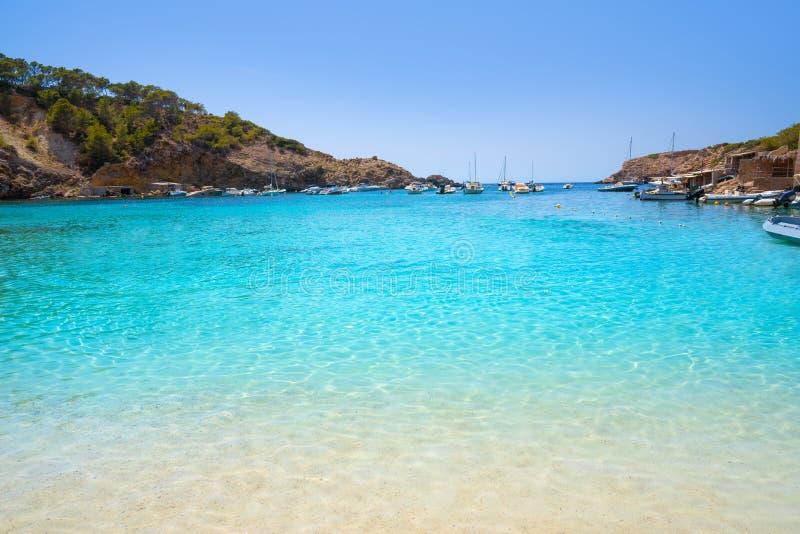 伊维萨岛卡拉市Vadella alse Vedella海滩 免版税库存照片