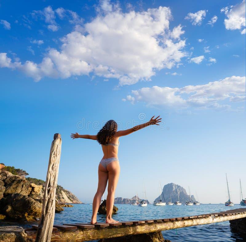 伊维萨岛cala d霍特女孩码头日落ES韦德拉 库存照片
