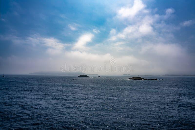 伊维萨岛Eivissa从海的地平线视图 库存照片