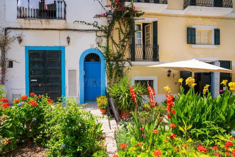伊维萨岛Eivissa街市Dalt维拉门面 库存照片