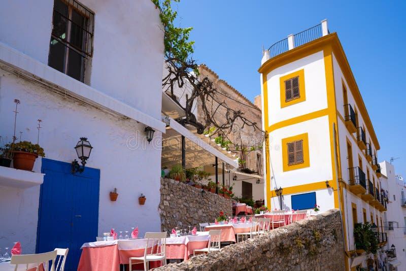 伊维萨岛Eivissa街市Dalt维拉门面 免版税库存图片
