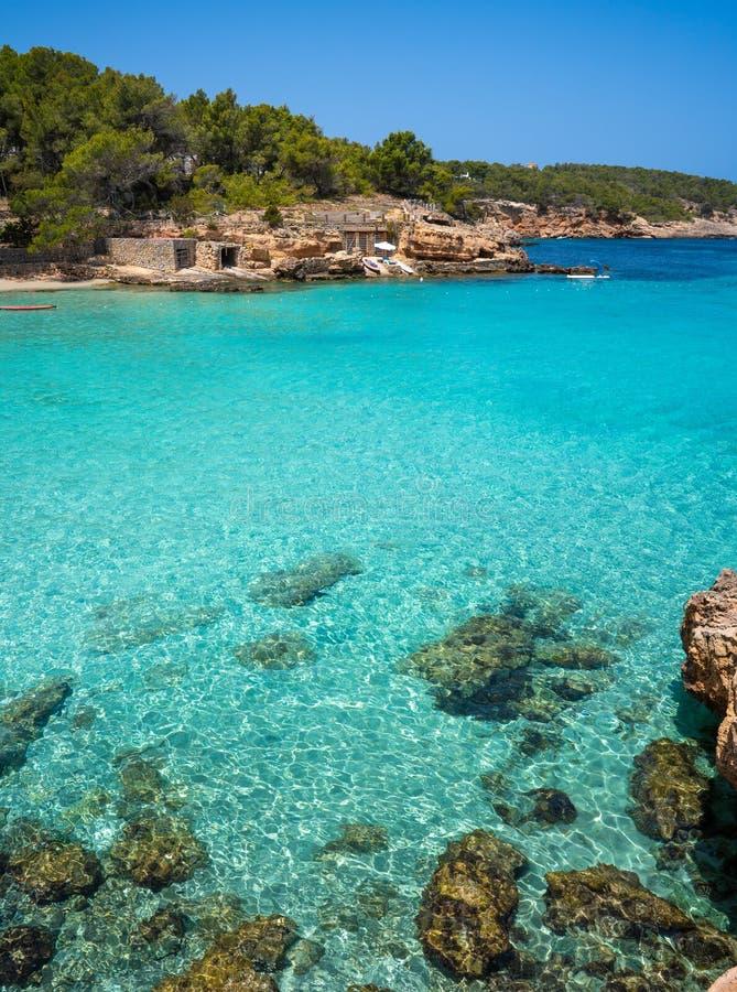 伊维萨岛Portinatx阿雷纳尔小的海滩在Balearics 库存图片