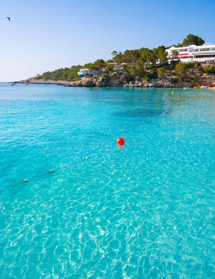 伊维萨岛Portinatx阿雷纳尔Gran海滩在Balearics 免版税库存照片