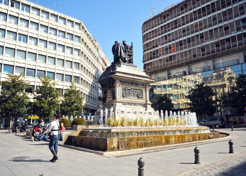 伊莎贝尔la Catolica广场在格拉纳达,安大路西亚,西班牙 库存图片
