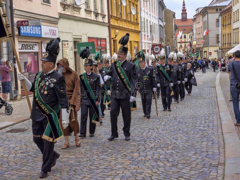 伊赫拉瓦捷克6月22Th日 2019年,开采的游行,6月22th日 第20,伊赫拉瓦,捷克 免版税库存照片