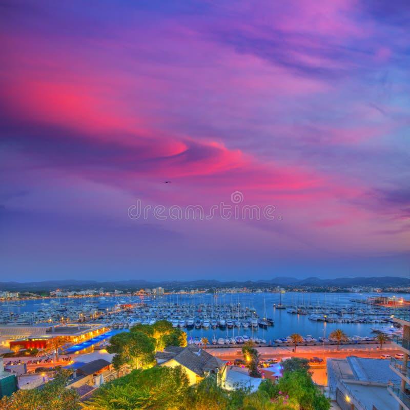 伊维萨岛圣安东尼奥Abad Sant安东尼Portmany日落 免版税图库摄影