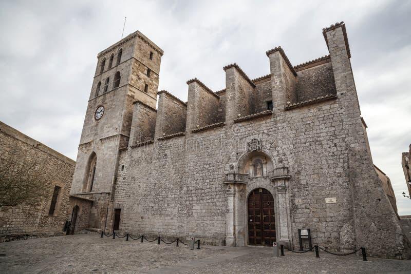 伊维萨岛大教堂  免版税库存照片