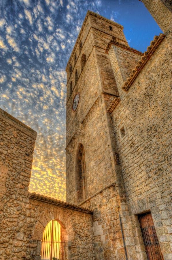 伊维萨岛大教堂- eivissa 库存照片
