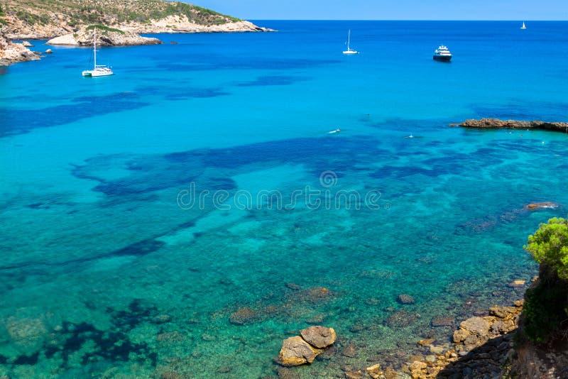伊维萨岛蓬塔de Xarraca绿松石拜雷阿尔斯Isla的海滩天堂 免版税库存照片