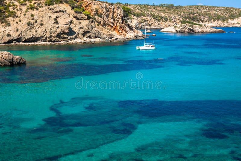 伊维萨岛蓬塔de Xarraca绿松石拜雷阿尔斯Isla的海滩天堂 库存图片
