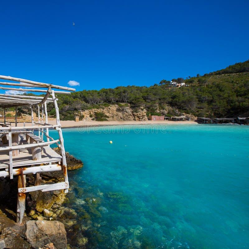 伊维萨岛Cala Benirras海滩在拜雷阿尔斯的圣霍安 免版税库存图片