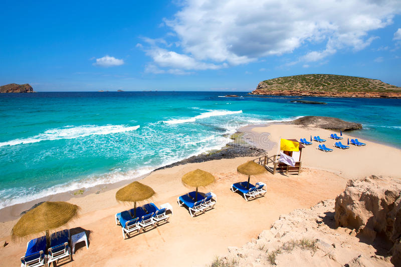 伊维萨岛Cala Conta孔德海滩在Sant何塞普 库存照片