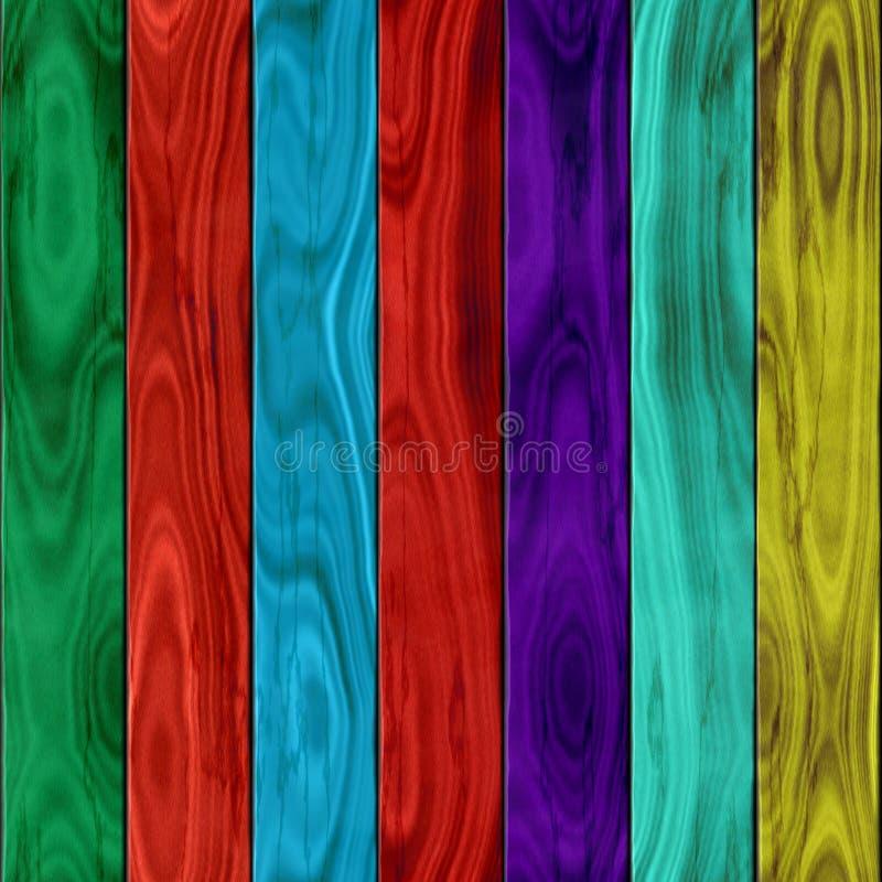 伍迪篱芭无缝的样式纹理背景绿色、红色、蓝色、紫色和黄色弄脏了木头 皇族释放例证