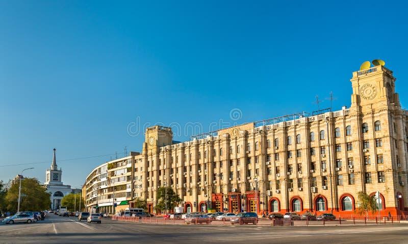伏尔加格勒主要邮局在俄罗斯 免版税库存照片