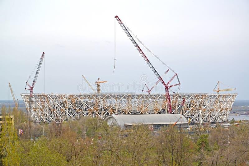伏尔加格勒举办的世界杯足球赛的比赛竞技场体育场的建筑2018年 免版税库存照片