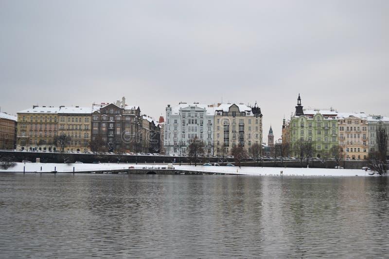 伏尔塔瓦河河的看法在布拉格。 免版税库存图片