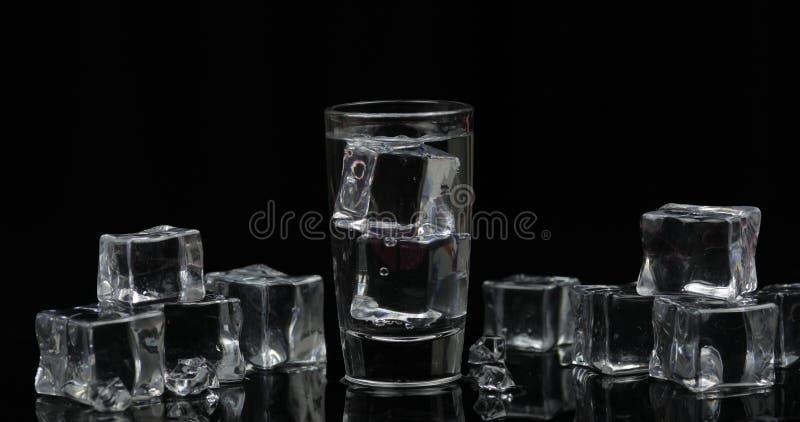 伏特加酒射击与冰块的反对黑背景 免版税库存照片