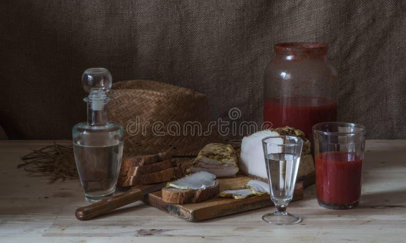 伏特加酒用西红柿汁 库存照片