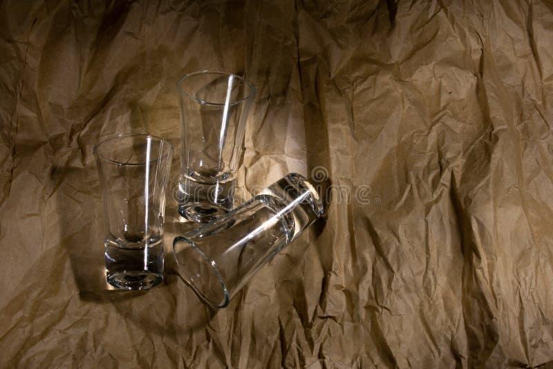 伏特加酒的三块玻璃 库存照片