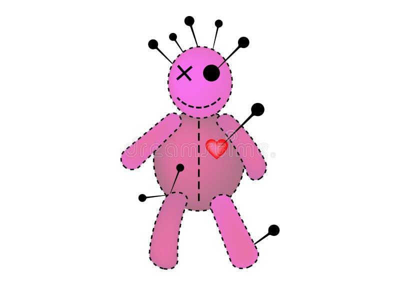 伏都教玩偶万圣节桃红色织品纹理概念象,在单相思,T恤杉设计,魔术的布洋娃娃的动画片玩偶 库存例证