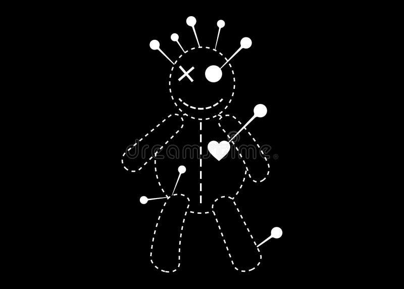 伏都教玩偶万圣节概念线象,在单相思,T恤杉设计的动画片玩偶,隔绝在黑背景 皇族释放例证