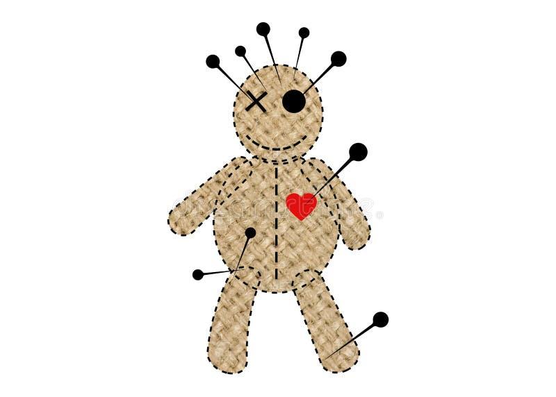 伏都教玩偶万圣节黄麻织品,在单相思,T恤杉设计,魔术的布洋娃娃的动画片玩偶概念象, 皇族释放例证