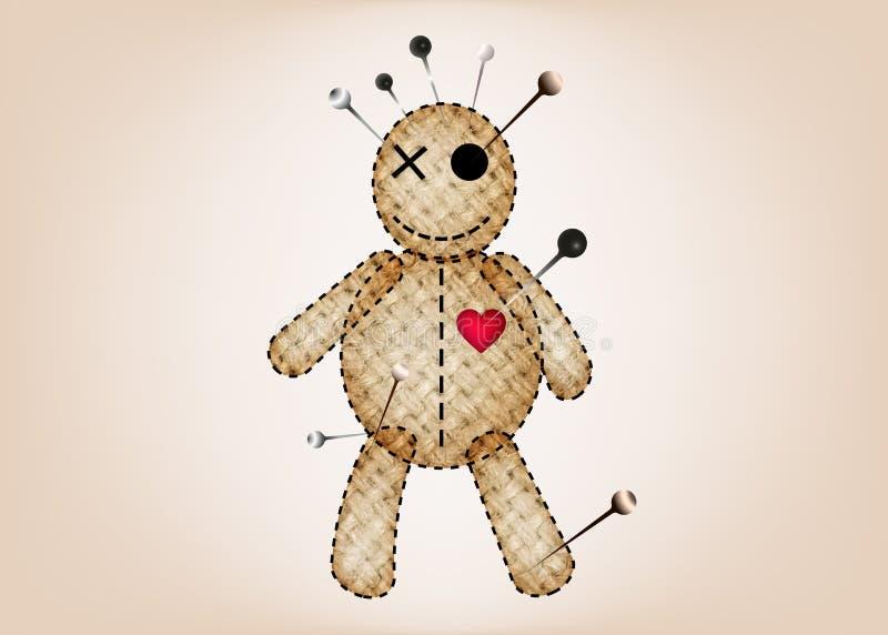 伏都教玩偶万圣节黄麻织品,在单相思,T恤杉设计,魔术的布洋娃娃的动画片玩偶概念象, 库存例证