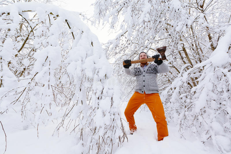 伐木工人在多雪的冬天森林里 库存照片