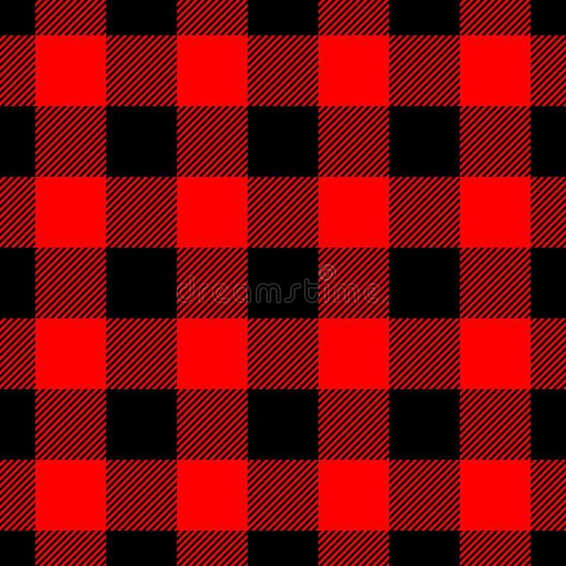 伐木工人在红色和黑色的格子花呢披肩样式 模式无缝的向量 简单的葡萄酒纺织品设计 皇族释放例证