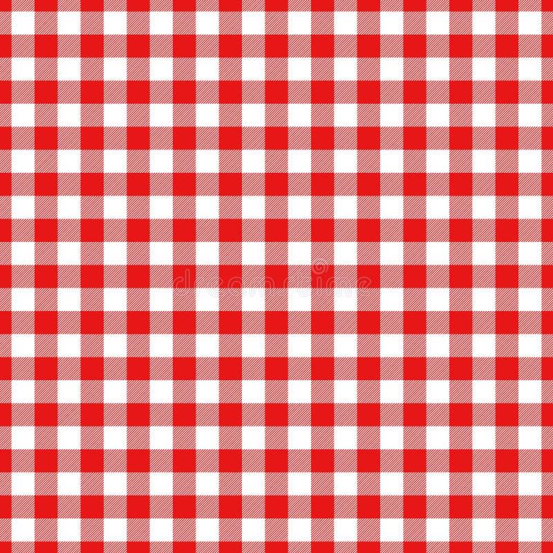 伐木工人在红色和黑色的格子花呢披肩样式 模式无缝的向量 库存例证