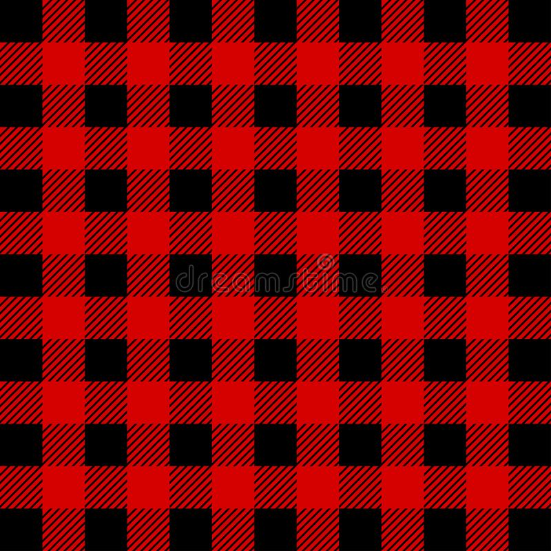伐木工人水牛城格子花呢披肩无缝的样式 红色和黑人伐木工人 向量例证