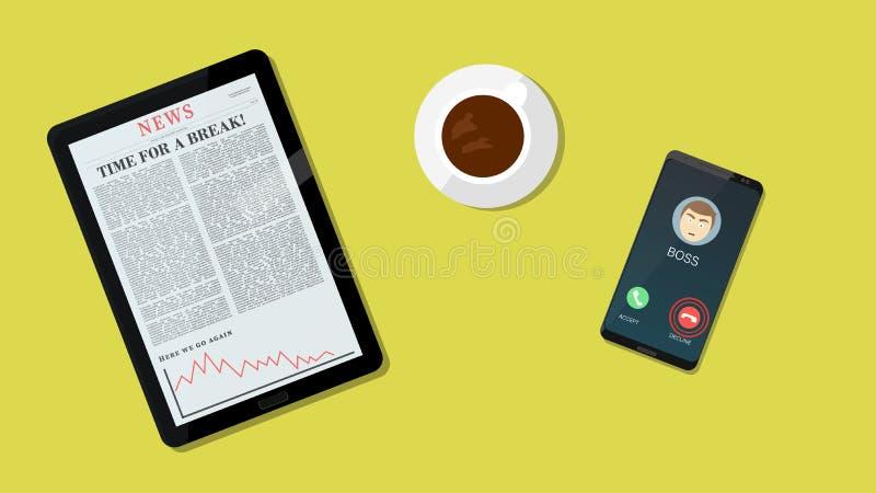 休假文章说 衰落上司电话 采取一个断裂概念用咖啡、片剂和智能手机 也corel凹道例证向量 皇族释放例证
