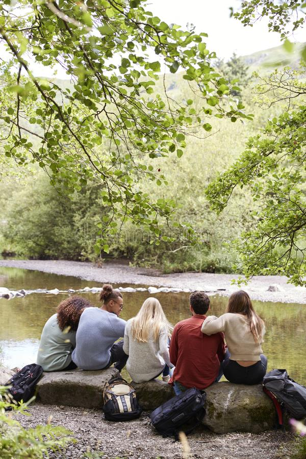 休假的五个年轻成人朋友坐岩石由小河在远足,后面看法期间,垂直 库存图片