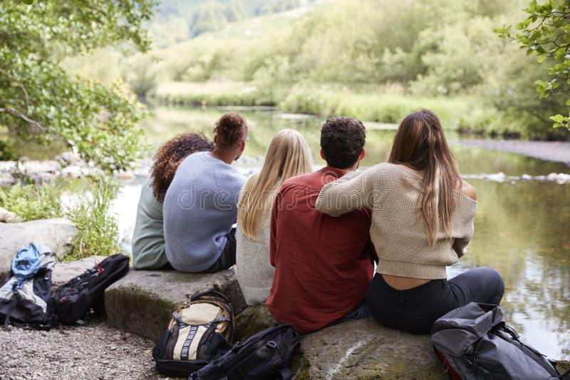 休假的五个年轻成人朋友坐岩石由小河在远足,后面看法,关闭期间  免版税图库摄影