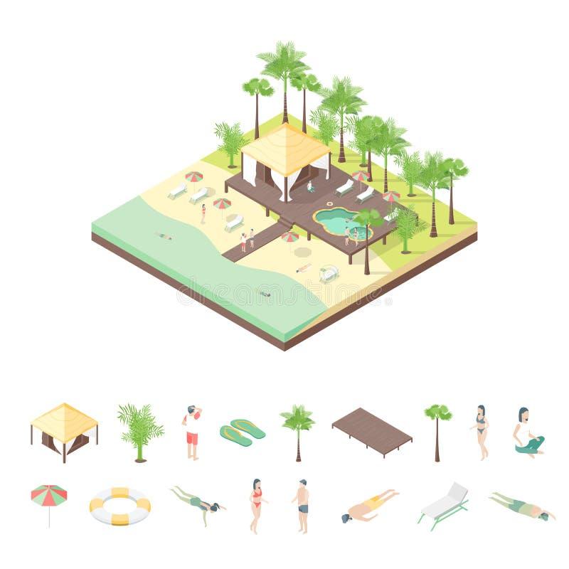 休养别墅和元素概念3d等轴测图 ?? 库存例证
