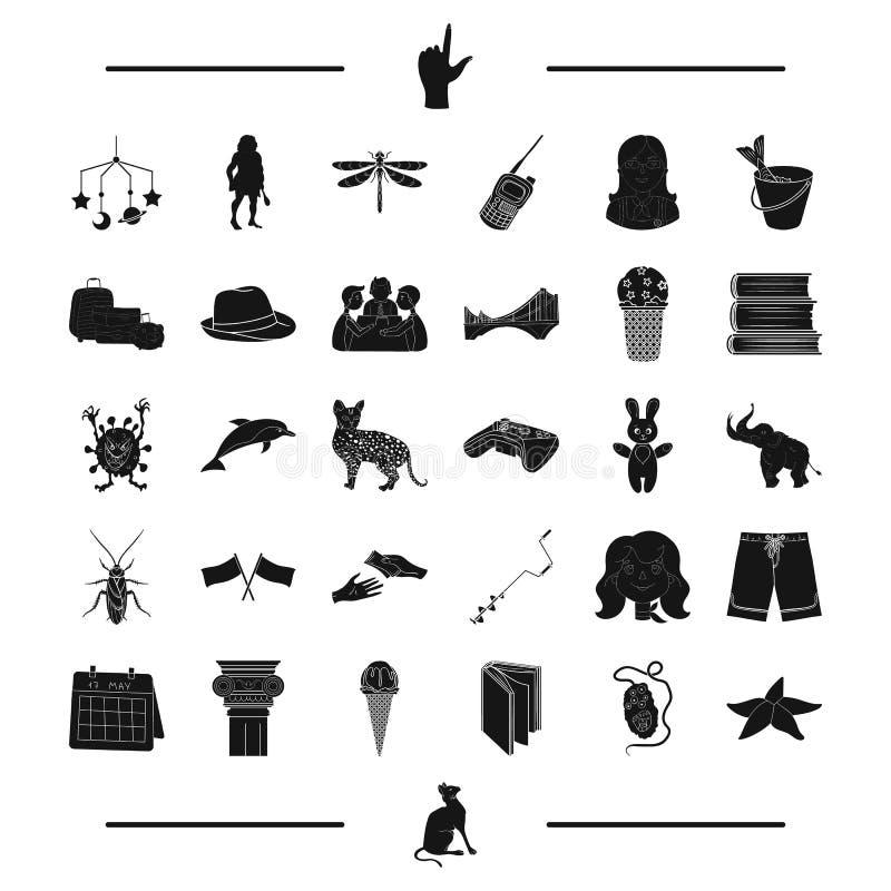 休息、迷彩漆弹运动、渔、孩子和其他网象在黑样式 计算机,教育,在集合汇集的昆虫象 皇族释放例证
