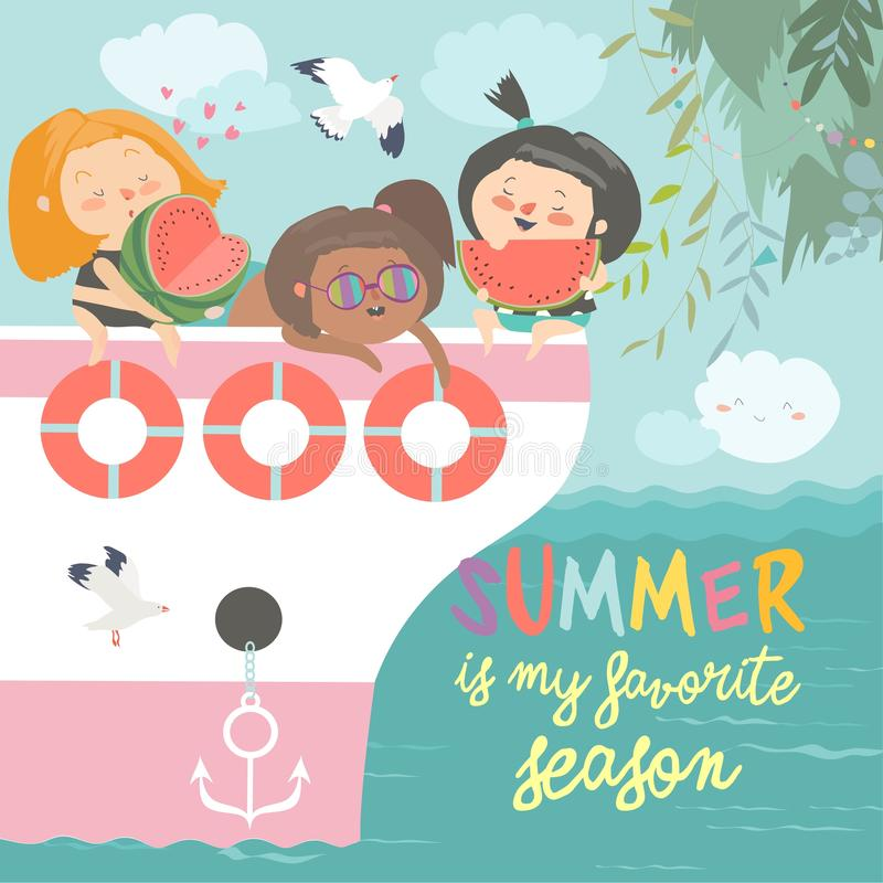 休息和吃在船的逗人喜爱的愉快的女孩西瓜 皇族释放例证