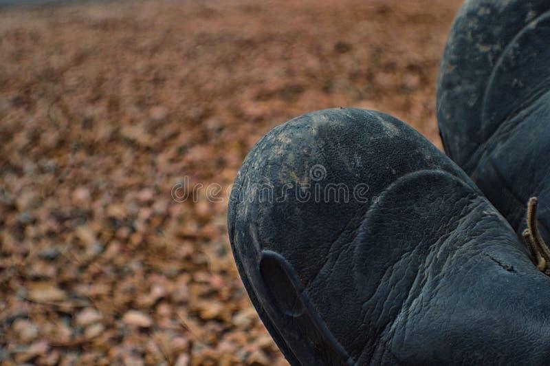 休息在一次长的远足以后的两双鞋子 免版税库存图片