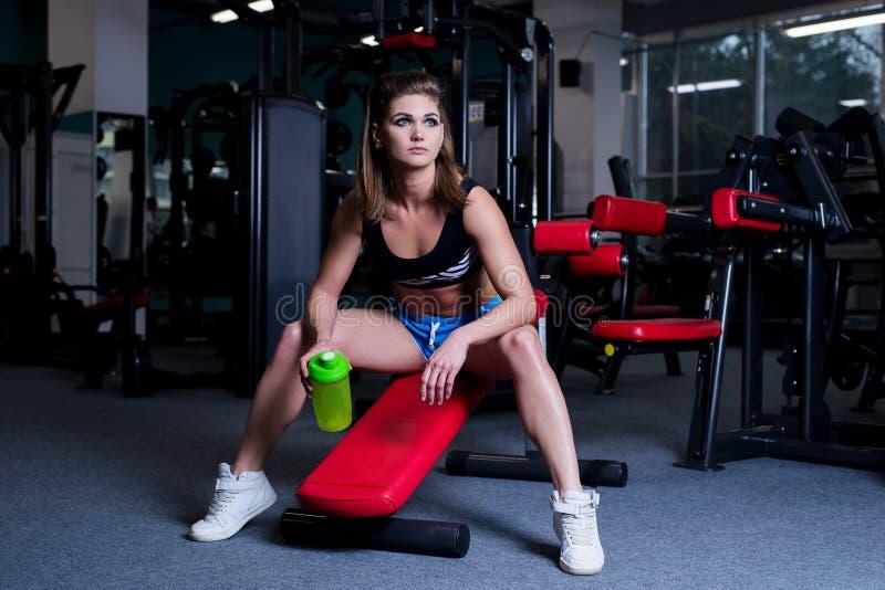 休息在哑铃以后的运动服的性感的健身妇女在健身房行使 有喝从的完善的健身身体的美丽的女孩 免版税库存图片