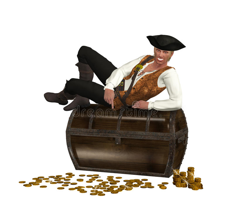 休息在宝物箱顶部的海盗 库存照片