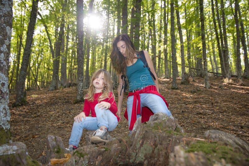 休息在栗树森林里的母亲和孩子在秋天 库存图片