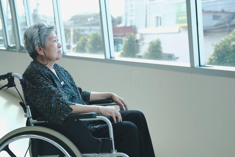 休息在窗口附近的轮椅的老妇人 年长女性关于 库存图片