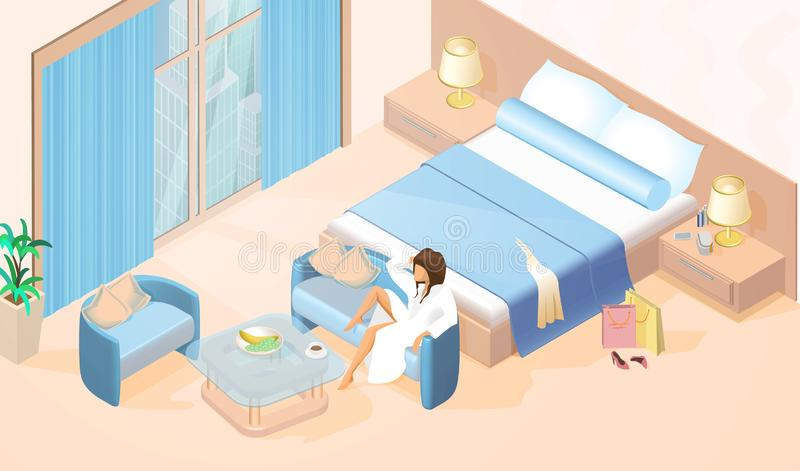 休息在酒店房间等量传染媒介的妇女 皇族释放例证
