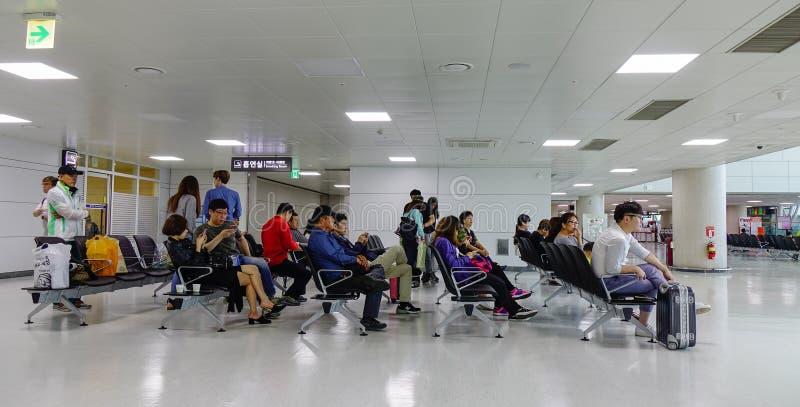 休息室在济州机场在韩国 免版税库存图片