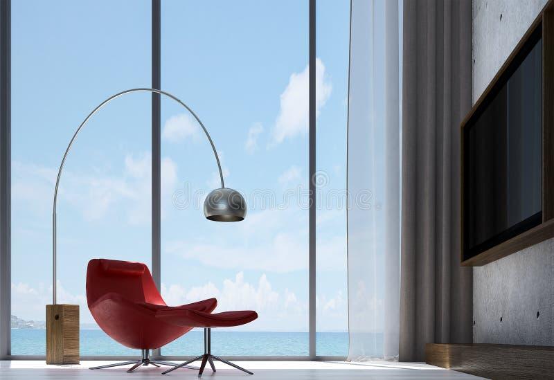 休息室沙发室内设计和客厅和Lcd电视和混凝土墙仿造背景 库存例证
