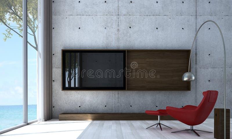 休息室沙发最小的室内设计和客厅和Lcd电视和混凝土墙仿造背景 库存照片
